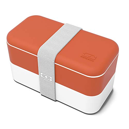 monbento - MB Original orange Brique Bento Box Made in France - Brotdose mit 2 Fächer - Lunch Box perfekt für Büro/Meal prep/Schule