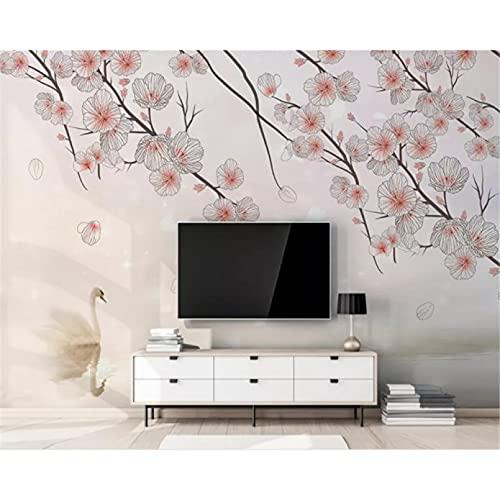 Papel tapiz mural moda rosa ciruelo flor cisne fondo pared papel tapiz decoración del hogar papel tapiz papel tapiz 250X175cm