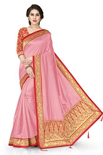 Mirchi Fashion Indische Hochzeitskleidung Designer Pallu Arbeit Sari mit ungenähtem Blusenteil Gr. Einheitsgröße, hellrosa