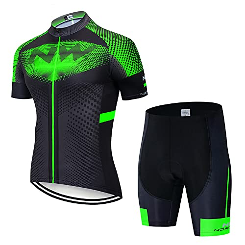 OJKYK Men's Cycling Clothing Bib Tights Short Sleeve Cycling Jersey Top 19d Gel Padded Shorts Pants Cycling Suit For Race Bike Bicycle