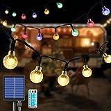 VIMOV Guirnalda Luces Exterior Solare, 7M 60 LED Cadena de Luces Bola, IP65 Impermeable 8 Modos Solar Luces Decorativas para Navidad, Jardín, Terraza, Patio, Boda, Fiesta
