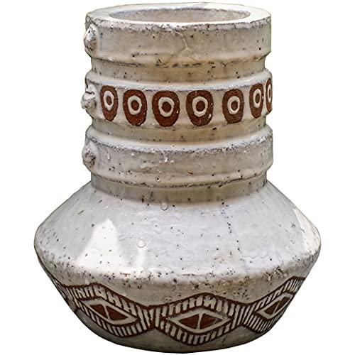 MaxTom Jarrón de cerámica Acanalado Vintage rústico Adecuado para Porche, Hotel, Sala de Estar, Mueble de TV, florero de Mesa de Cocina (Color : Beige, Size : 22×22×23.5cm)