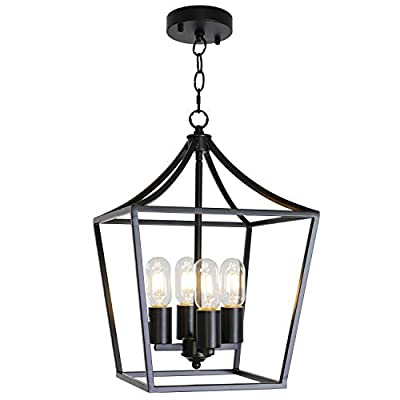 ELUZE 4 Light Chandelier Rustic Industrial Lighting Matal Shade Black Farmhouse Vintage Pendant Lighting for Kitchen Entryway Hallwy Dining Roomd and Living Room
