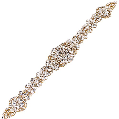 FANGZHIDI Crystal Applique, Yellow Gold Rhinestone Bead Trim for Wedding Dress Bridal Sash Belts, DIY Your Sparkly Waist Belts Bride Accessories- Iron on/Hot fix/sew on Embellishments