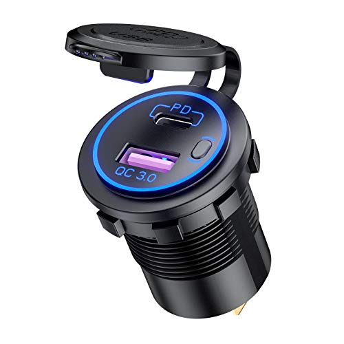 Encendedor de cigarrillos USB para coche, tipo C PD 3.0 + USB-A QC 3.0 – 30 W + 18 W, 12 V/24 V, adaptador de carga dual con interruptor, compatible con iPhone 11, Galaxy S10, Huawei P20 (LED azul)