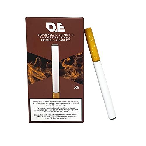 DE - Einweg-E-Zigarette (Packung mit 5) nach Geschmack Tabak, 500 Züge. mit 280mAh Batterie und hohen Dampfvolumen (kein Tabak oder Nikotin)