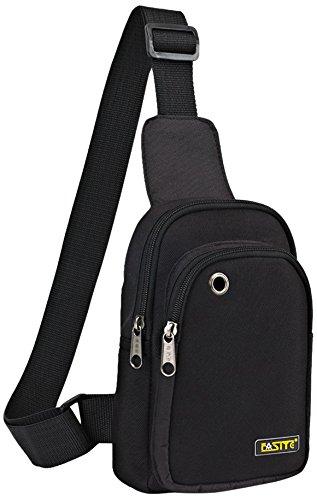 FASITE Sling Bag Chest Backpack, Crossbody Shoulder Tool Pouch for Men Women, Black