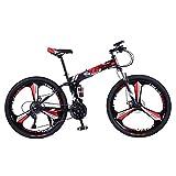 DGAGD Bicicleta de montaña Plegable de 26 Pulgadas, Doble Amortiguador, Carreras Todoterreno, Bicicleta de Velocidad Variable de Tres Ruedas-Rojo Negro_24 velocidades