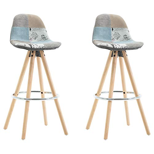 WOLTU® 2 x Barhocker 2er Set Barstuhl aus Leinen Holzgestell mit Lehne + Fußstütze Design Stuhl Küchenstuhl optimal Komfort Patchwork BH45pw-2