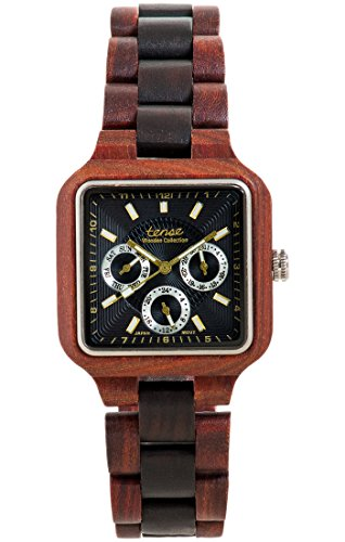 TENSE Holzuhr Herren Katalox Leadwood Ø 40 mm Armbanduhr Summit analog Quarz B7305RD-BG
