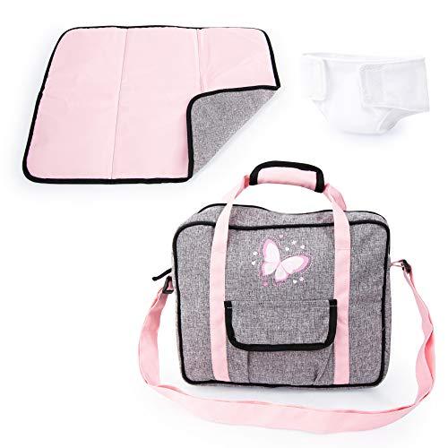 Bayer Design 69233AB Puppenzubehör, Puppenpflege Set, Wickelset für Puppen, Zubehör für Babypuppen mit Wickeltasche, Wickelunterlage, genähte Windel, grau, rosa mit Schmetterling