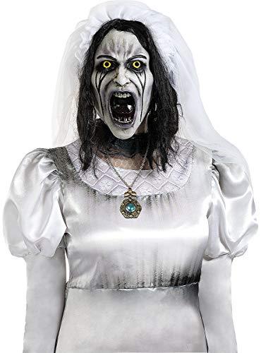 Funidelia   Máscara de La Llorona Deluxe Oficial para Hombre y Mujer ▶ Películas de Miedo, Expediente Warren, Halloween, Terror - Color: Blanco, Accesorio para Disfraz - Licencia: 100% Oficial