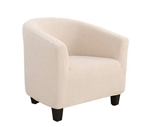 E EBETA 2 x Jacquard Funda de Sillón Chesterfield, Elastano Fundas de sofá Suaves duraderas Tub Chair Sillón, Cubre Sofá Chester 1 Plaza Lavables ( Blanco Crema )