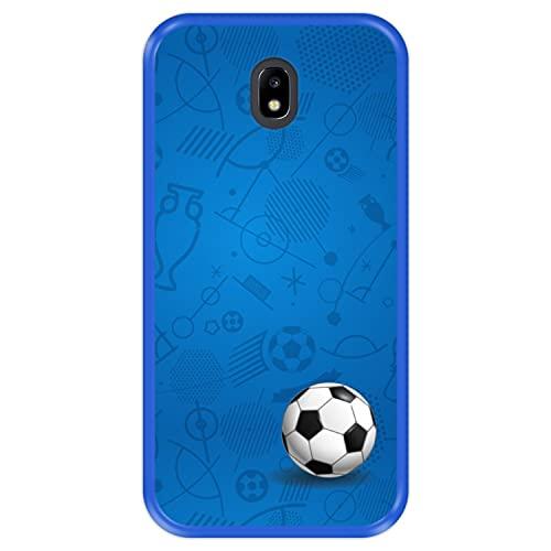 Hapdey Funda Azul para [ Samsung Galaxy J5 2017 ] diseño [ Patrón Deportivo con Bola de Futbol ] Carcasa Silicona Flexible TPU