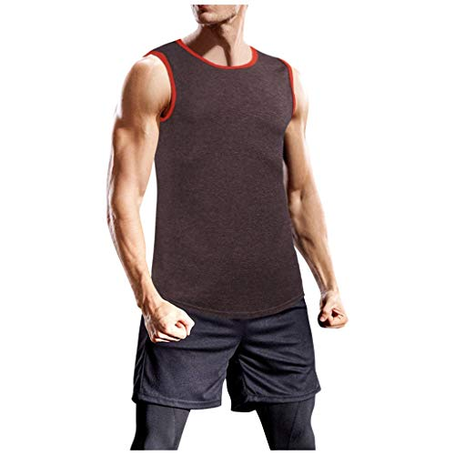Yowablo Tank Top Herren Muskelshirt Gym Fitness Tanktop Tankshirt Ärmellos Bodybuilding Shirt Unterhemd T-Shirt Muskelshirt Achselshirt Ärmellose Training Gym (L,Rot)