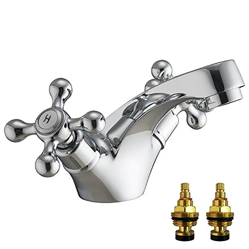Traditional Design Cross Handle Chrome Basin Mixer Tap (Viscount 1) by Grand Taps