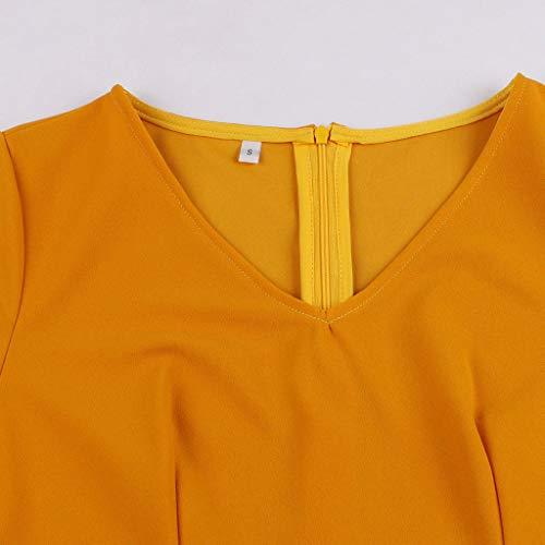 VEMOW Vestido Elegante Mujer Vendimia Moda Llamarada Manga Larga Mariposa Impreso Cuello en V Mini Vestir OtoñO Invierno(Amarillo,S)