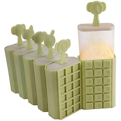 HONZUEN 6 Eisformen Eis Am Stiel Formen Stapelbar Eisform - BPA Frei Wiederverwendbar Eisformen Popsicle Formen Eisförmchen mit Stiel, Stieleisformer für Kinder und Erwachsene, Grün