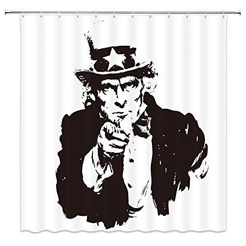 AdaCrazy Uncle Sam Duschvorhang schwarz weiß Kunst kreative 71x71 Zoll hochwertige Polyester wasserdichtes Gewebe Duschvorhang einschließlich 12 Kunststoffhaken verdickt Duschvorhang