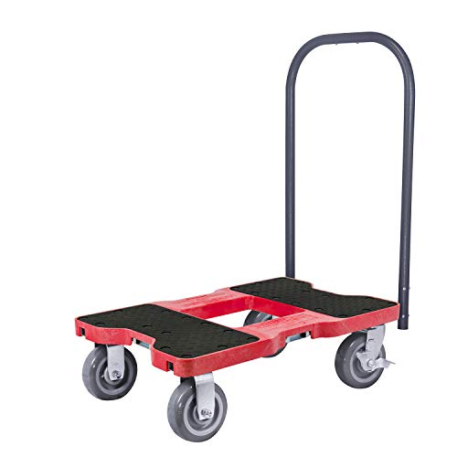 SNAP-LOC 1800 LB Super-Duty Push CART Dolly RED with Steel Frame, 6 inch Casters, Push Bar and Optional E-Strap Attachment