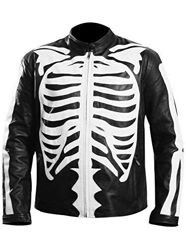 Mens Skeleton Bones Black Leather Jacket - Cafe Racer Biker Skull Motorcycle Jacket