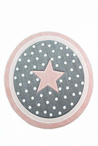 Tapis pour Enfants Tapis de maternité Tapis de Sol Rond Star en Rose Gris Blanc Größe 160 cm Rund