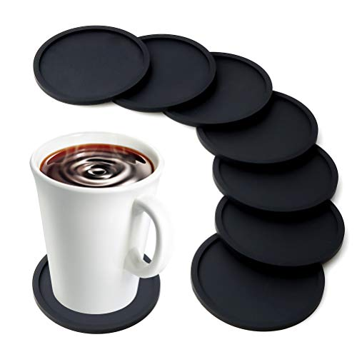 MarhJean Silicone Drink Coasters Anti-Slip Durable Reusable Coasters for Glasses Cups Mugs, Perfect to Protect Patio Furniture, Dinner Table or Bar, No More Water Rings and Wet Sticky Tables (Black)