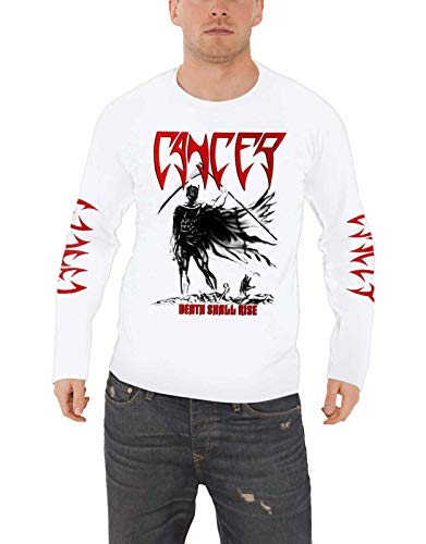 Cancer T Shirt Death Shall Rise Band Logo Nuovo Ufficiale Uomo Bianca Long Size M