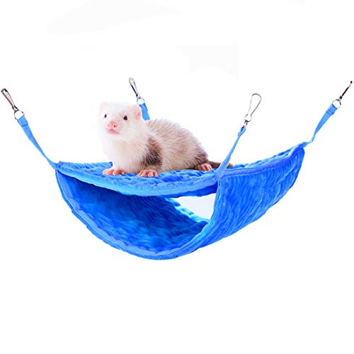 Flaqurily Soft and Luxury Bunkbed Hammock, Fit for Adult Ferrets, Rats, Chinchillas or Small Animals (Blue)