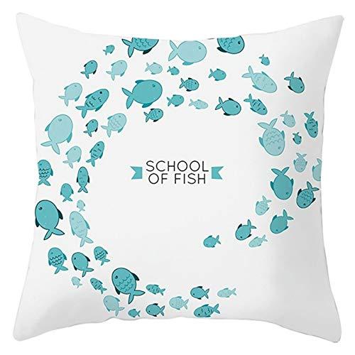 Agoble Adornos para Salon, Cojines Sofa Elegantes Poliéster 1 Funda Cojin Blanco Azul Peces Escuela De Peces