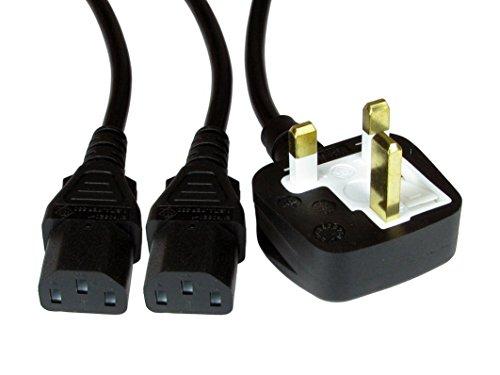 Invero® 2M Single UK Mains Plug 13A to 2x IEC C13 PC Monitor Sockets Dual Kettle Lead Splitter Cable - 2 Metre Lead Black