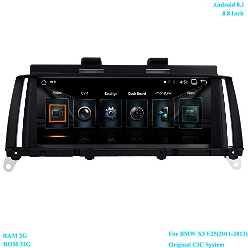 XISEDO 8.8 Pouces Écran 6-Core Android 8.1 Autoradio RAM 2GB ROM 32GB Car Radio Système de Navigation GPS pour BMW X3 F25(2011-2013) Original CIC System