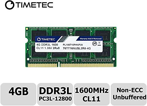 Timetec Hynix IC 4GB DDR3L 1600MHz PC3-12800 Unbuffered Non-ECC 1.35V CL11 2Rx8 Dual Rank 204 Pin SODIMM Laptop/Notizbuch Arbeitsspeicher Module Upgrade (4GB)