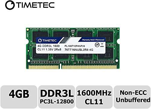 Timetec Hynix IC - Módulo de Memoria DDR3L (4 GB, 1600 MHz, PC3-12800, sin búfer, sin ECC, 1,35 V, CL11, 2Rx8, Dual Rank, 204 Pines, SODIMM)