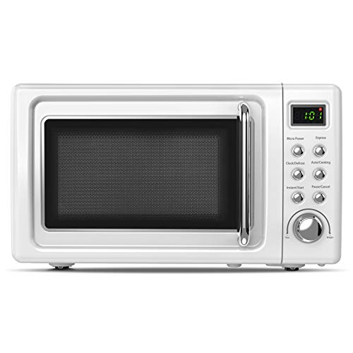 ARLIME Retro Countertop Microwave Oven, 0.7Cu.ft, 700-Watt with 5 Micro Power Defrost & Auto Cooking Function, LED Display, Glass Turntable & Viewing Window, Stainless Steel (White)