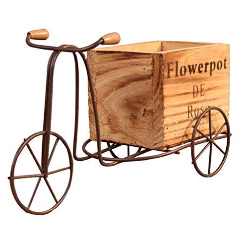 SHZSR Pastoral Hierro Bicicleta Soporte de Flores Mesa Mecedora de Interior Triciclo Soporte de Maceta de Madera Hogar Escritorio Decoración de jardín