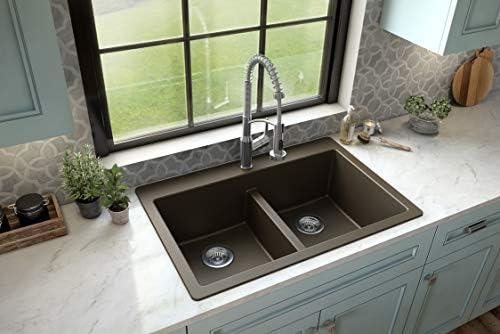 Karran QT 810 33 Top Mount Double Equal Bowl Quartz Kitchen Sink Brown product image