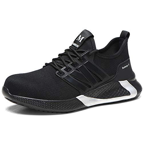 Buty ochronne mężczyźni kobiety lekkie stalowe noski czapka trampki oddychające buty robocze, - Czarny - 37 EU
