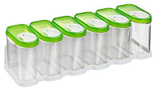 Kigima Gewürzdosen Schüttdosen Streudosen Vorratsdosen 0,25l 6er Set mit Regal grün