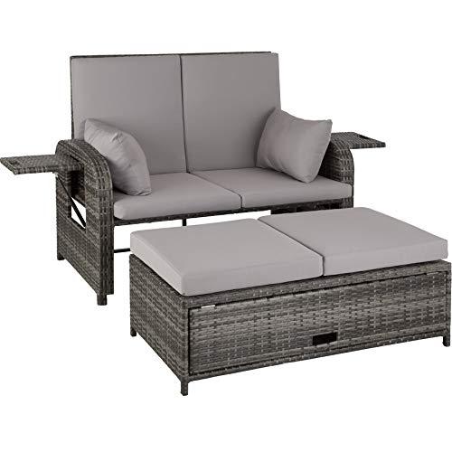 TecTake 800714 Aluminium Polyrattan Lounge 2er Garten-Sofa inkl. dicken Auflagen und Abdeckung, Rückenlehne verstellbar mit Gasdruckfedersystem – Diverse Farben (Grau | Nr. 403283)