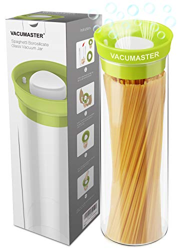 Tall Pasta Glass Container with Vacuum Seal Airtight Lid - Vacumaster Long Food Storage Container For Spaghetti Linguine Capellini Noodle BPA-Free Pasta Keeper (40 oz)