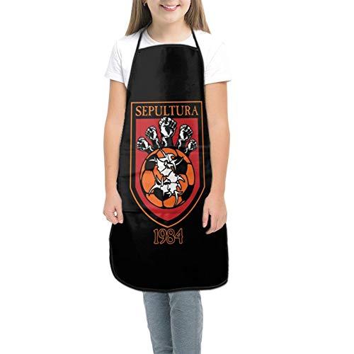 Se-Pultu-Ra - Tablier pour enfants - Pour la cuisine, la pâtisserie, le jardinage, les arts et l'artisanat - Pour enfants de 3 à 8 ans - Noir - petit