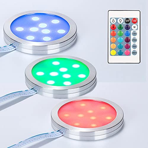 Temgin RGB LED Unterbauleuchte Dimmbar 3er Set Schrankleuchten Aluminium mit Stecker und Fernbedienung Nachtlicht für Küche Theke Flur Treppe Vitrinenbeleuchtung