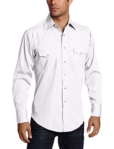 Wrangler Men's Sport Western Two Pocket Long Sleeve Snap Shirt, White, L