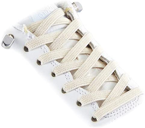 3 Pairs Elastic Shoe Laces Quick to Install No tie Shoelaces for Kids and Adults Beige product image
