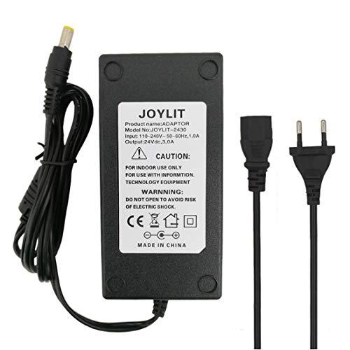 JOYLIT 24V 3A Adaptador de Corriente 72W Fuente de Alimentación Transformador para Tira LED