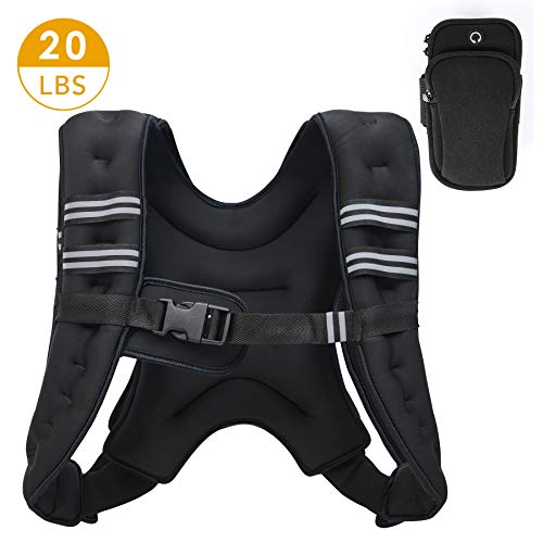ZELUS Weighted Vest 20lbs. Weight Vest with Reflective Stripe for Workout, Strength Training, Running, Fitness, Muscle Building, Weight Loss, Weightlifting (Black/ 20lbs.)