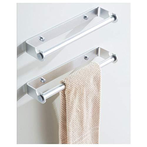 EEUK Handtuchhalter für Badezimmer, Wandmontage, Küchenpapierhalter, selbstklebend, Unterschrank, Papierrollenhalter, Handtuchhalter für Badezimmer, Küche, 22 cm, silberfarben