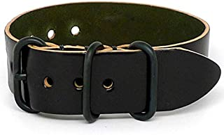 DaLuca Shell Cordovan 1 Piece Military Watch Strap - Black (PVD Buckle) : 20mm