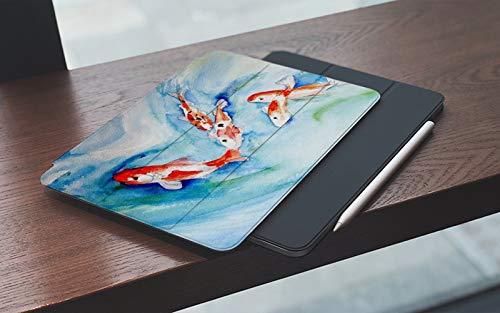 MEMETARO Funda para iPad (9,7 Pulgadas 2018/2017 Modelo), Acuarela Original Relajación Oriental Koi Natación Naturaleza al Aire Libre Acuático Smart Leather Stand Cover with Auto Wake/Sleep